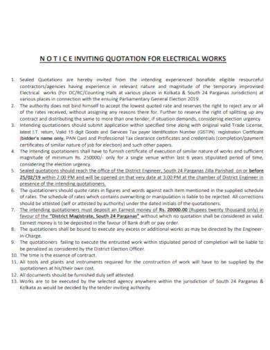 quotation notice for electrical work