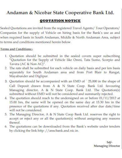 quotation notice for supply of vehicles