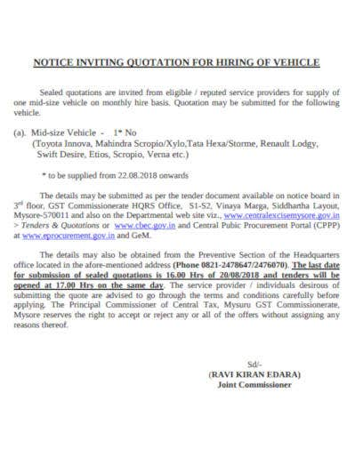 quotation-for-hiring-of-vehicle