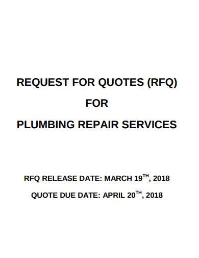 rfq for plumbing repair service