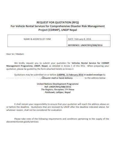 rfq for vehicle rental services