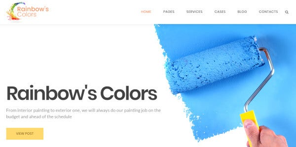 rainbow's color drag and drop page builder wordpress theme