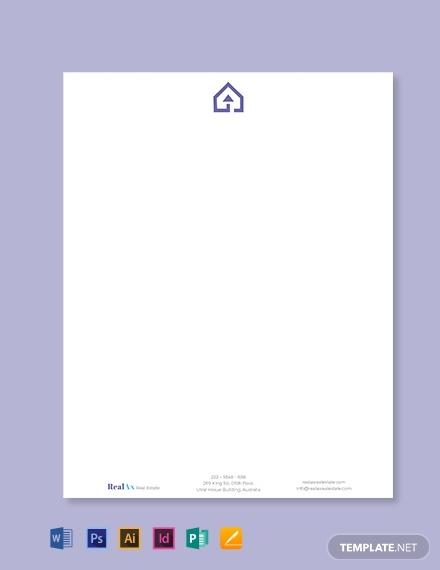 real estate company letterhead template