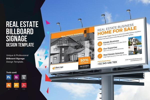 real estate sale billboard template