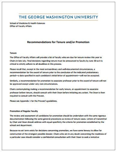 recommendation for tenure or promotion template