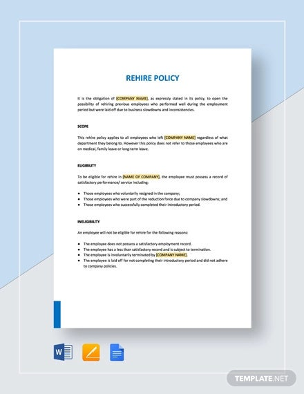 rehire policy template
