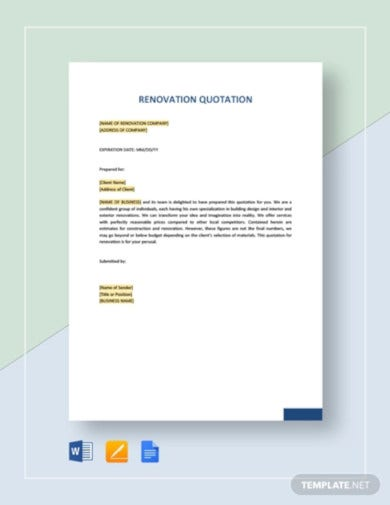 renovation quotation templates in pdf word xls