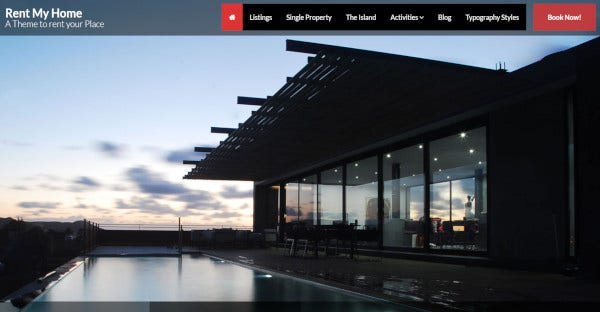 Rent My Home Vacation Rental – unique design wordpress theme