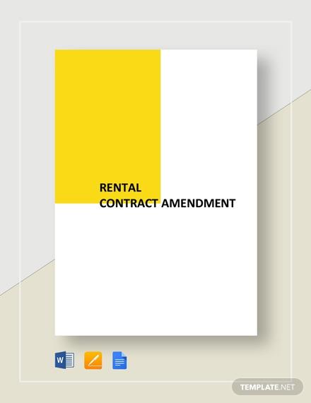 rental contract amendment template
