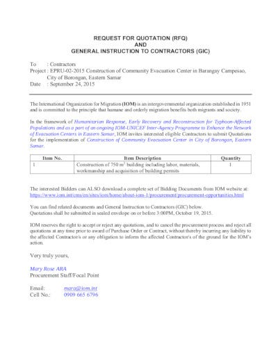 request for contract quotation format