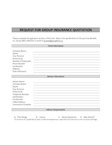 request for group insurance quotation