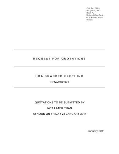 request for quotation branded clothing