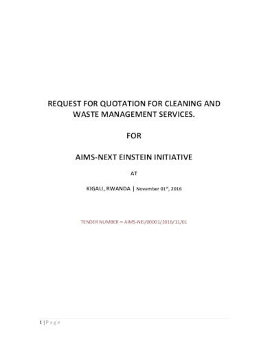request for quotation for cleaning service