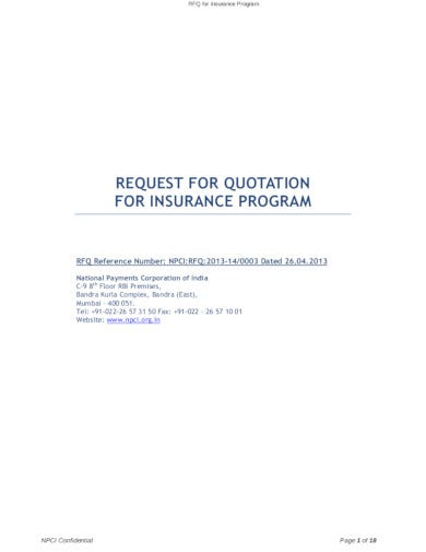 request for quotation for insurance program
