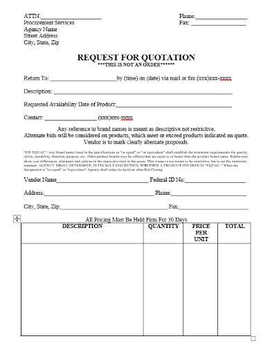 request for quotationtemplate in doc