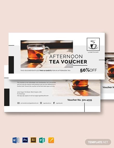 restaurant afternoon tea voucher design