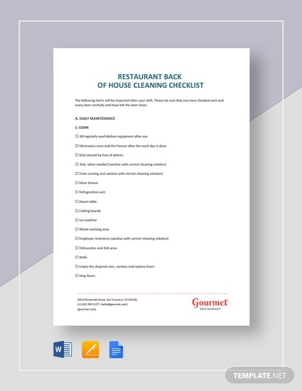 restaurant back of house cleaning checklist2