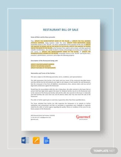 restaurant-bill-of-sale-template