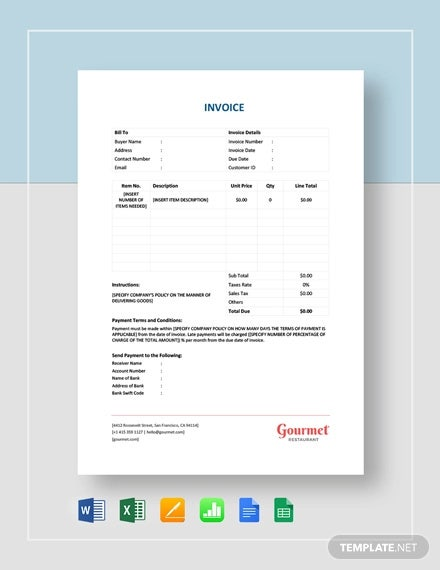 restaurant blank invoice template