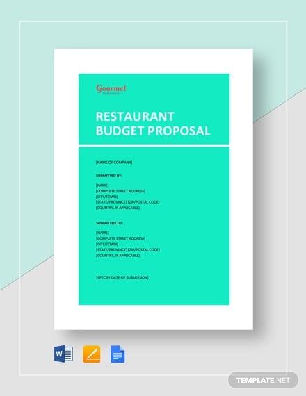 restaurant budget proposal template