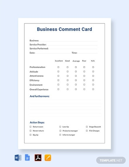 restaurant business comment card template