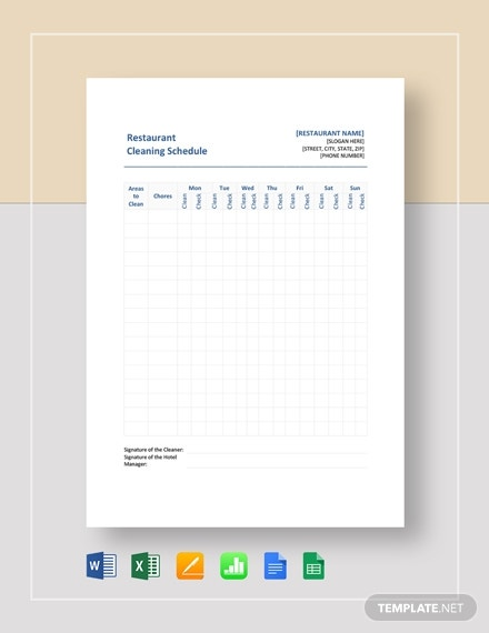 Restaurant Cleaning Schedule Templates- 14+ Free Word, PDF