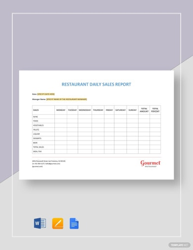 restaurant daily sales activity template