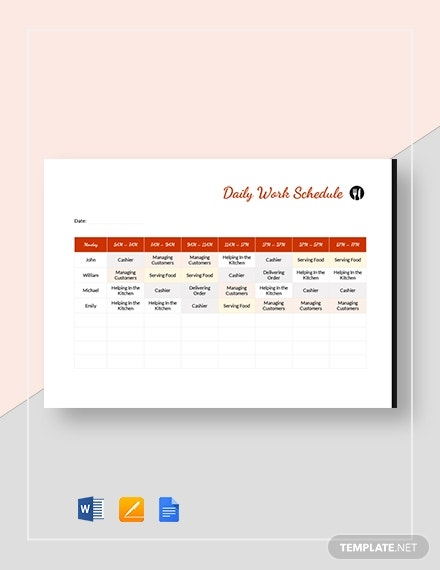 restaurant daily work schedule
