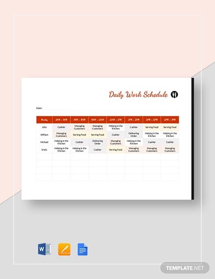 restaurant daily work schedule2