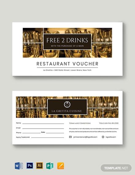 restaurant drink voucher card sample