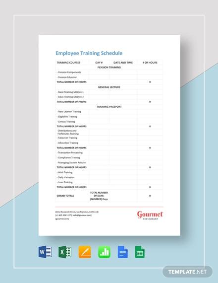 14  employee training schedule template