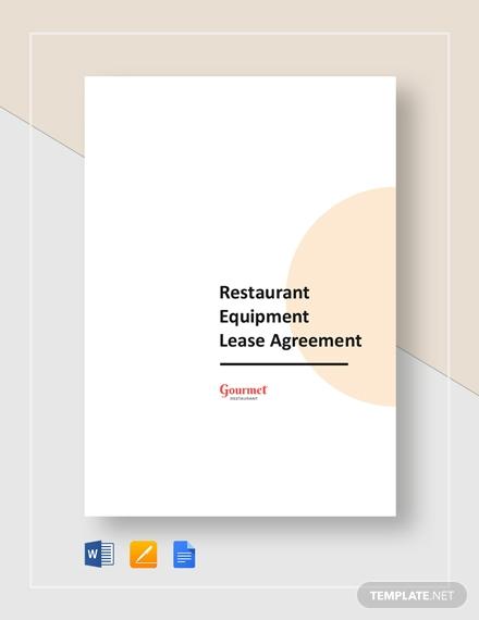restaurant equipment lease agreement
