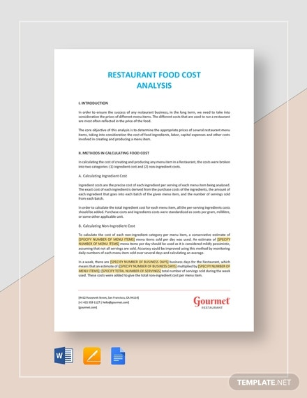 restaurant food cost analysis