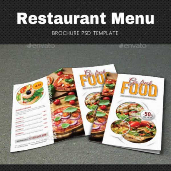 restaurant food tri fold brochure sample