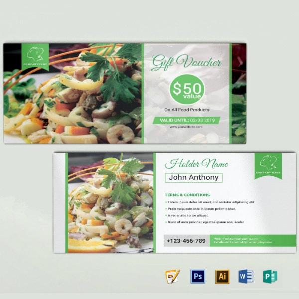 restaurant gift voucher coupon sample