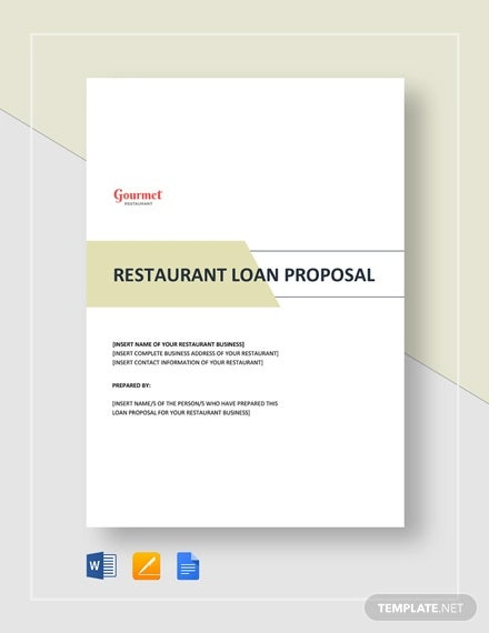restaurant loan proposal template