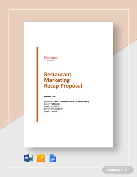 restaurant marketing recap proposal template