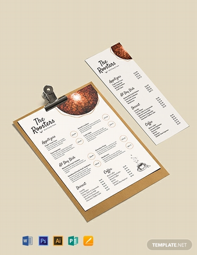 restaurant menu card template