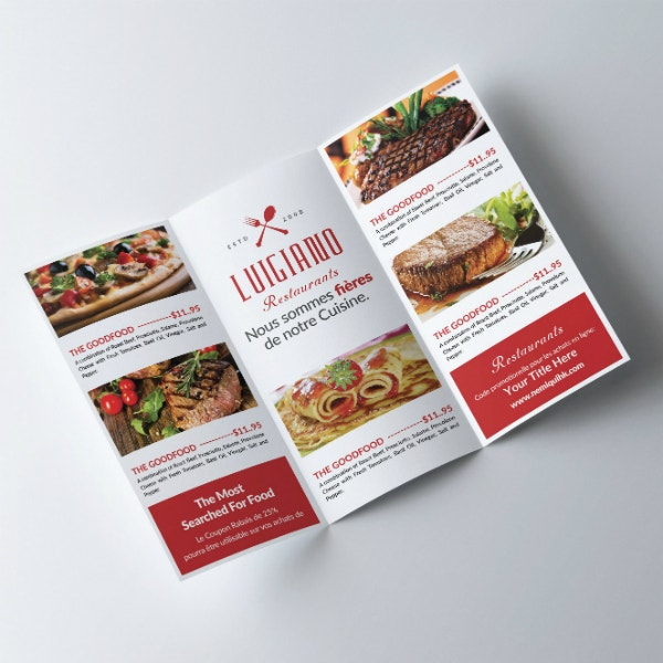 restaurant menu tri fold brochure sample