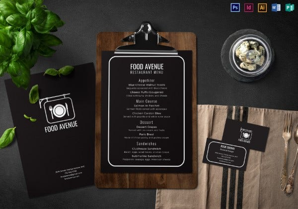 restaurant menu and business card mock up