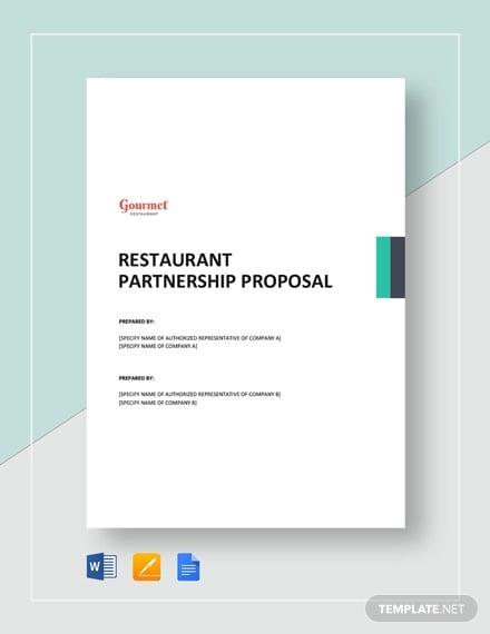 restaurant partnership proposal template