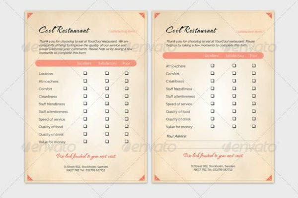 restaurant questionnaire and comment card template