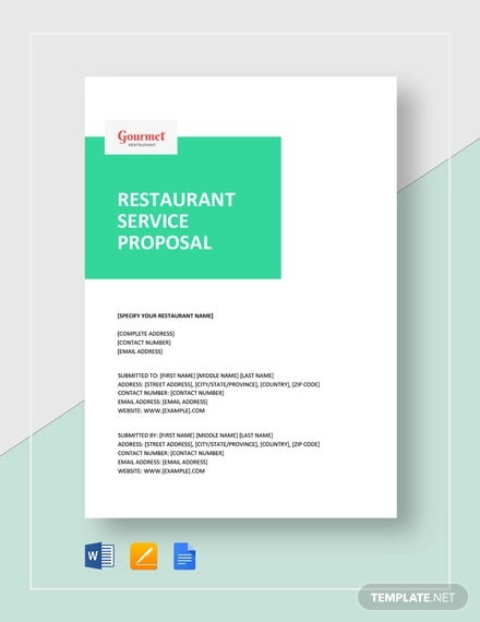 restaurant service proposal template