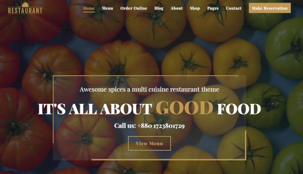 restaurant woocommerce wordpress theme