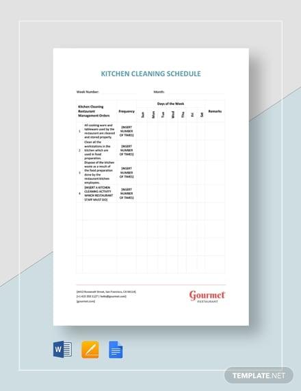 restaurant kitchen cleaning schedule