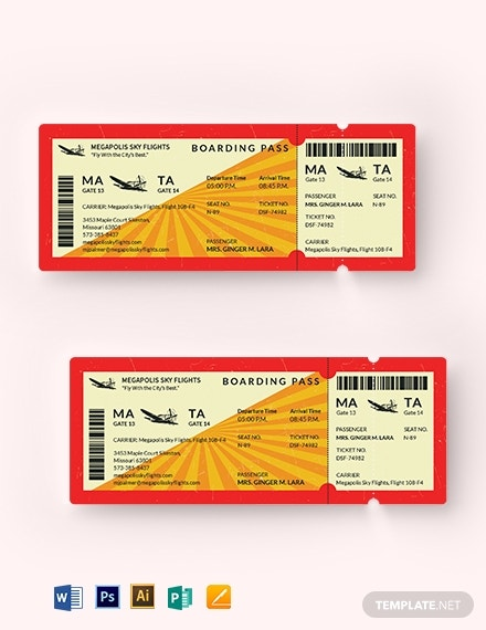 retro boarding airline ticket sample