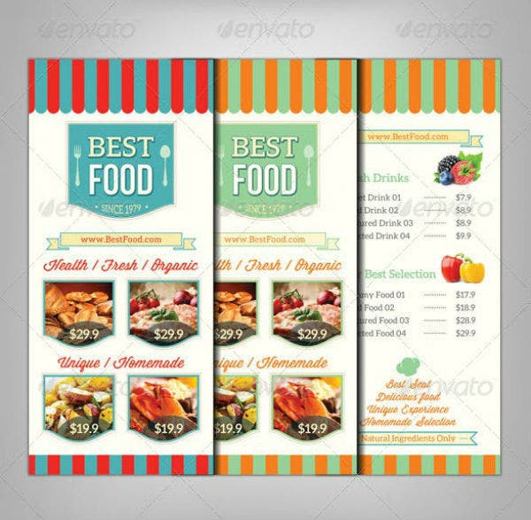 retro restaurant rack card template