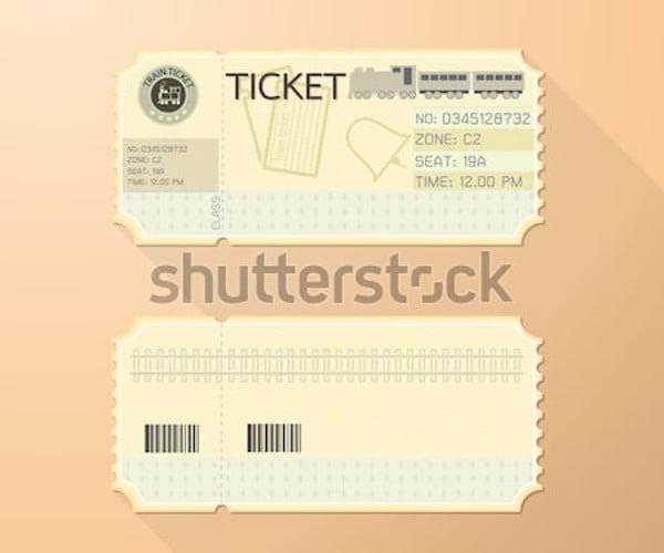 retro train ticket design