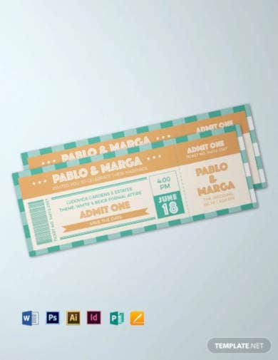 retro wedding ticket template