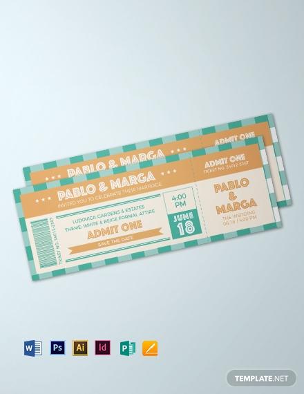 retro wedding ticket template1